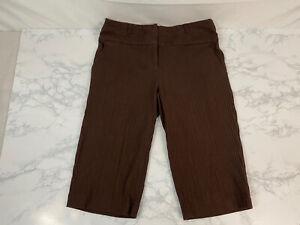 Cato Woman Cargo Bermuda Shorts Womens Size 4 Brown Corduroy Long Stretch A1