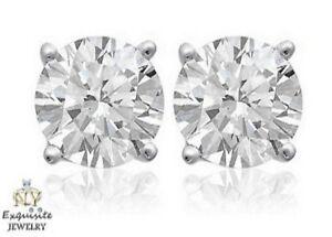 Details about CERTIFIED  50ct ROUND-CUT E-F / VVS2-VS1 DIAMONDS PLATINUM  STUDS EARRINGS