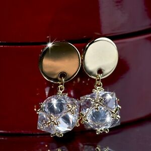 18K-YELLOW-GOLD-GP-925-SILVER-MADE-WITH-SWAROVSKI-CRYSTAL-BALL-DANGLE-EARRINGS