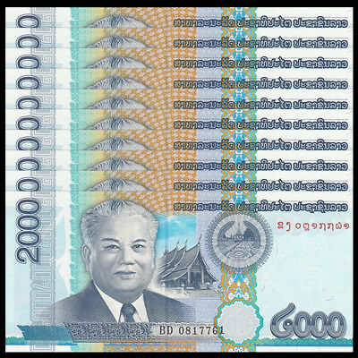 Lot 5 PCS P-41 Laos 2000 2,000 Kip 2011 UNC