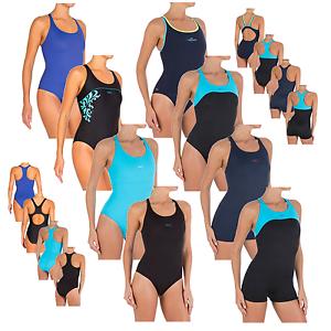 f07da5da8e0c7a Das Bild wird geladen Damen-Badeanzug-Classic-Sport-Schwimmanzug-mit-Bein-36 -