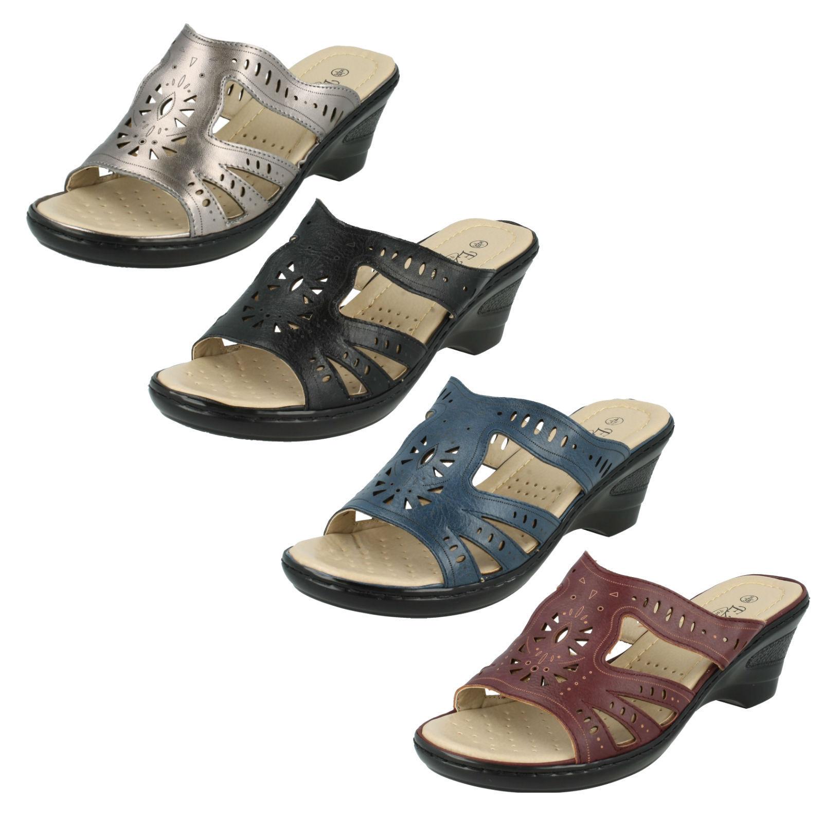 Mujer Sandalias Punta Abierta Confort Sin Cordones Tacón Cuña Casual Confort Abierta Zapatos c0bbc6