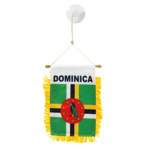 Dominica MINI BANNER FLAG CAR /& HOME WINDOW MIRROR HANGING 2 SIDED