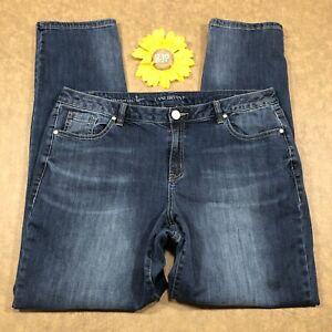 Lane-Bryant-Womens-Genius-Fit-Straight-Jeans-Size-16-Stretch-Blue-Denim-ds751