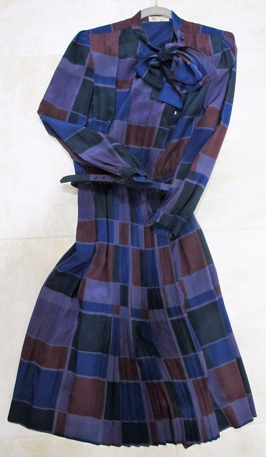årgång Genuine 1970 -talet LANVIN 100% Silk kvinnor Dress Storlek