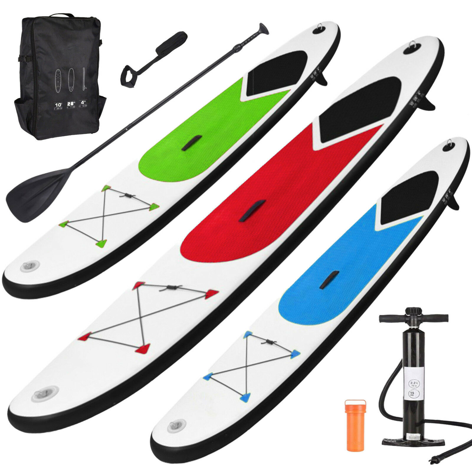 GEEZY Inflatable Stand Up Paddle Board 305cm SUP with Ankle Strap Pump Carry Bag