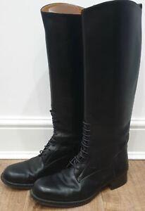 hermes black leather lace front knee high flat block heel