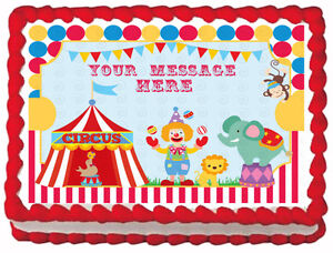 Image Is Loading CIRCUS CARNIVAL CLOWN Birthday Party Edible Cake