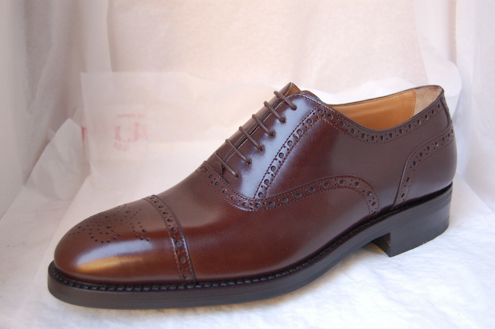 MAN SHOE - 7 eu - OXFORD PERFSCAPTOE + 5048 MEDALLION - CALF TDM 5048 + - RUBBER SOLE 7ff4b4
