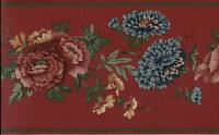 Victorian Floral On Red Wallpaper Border