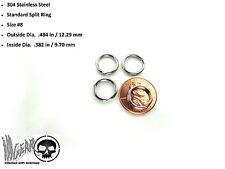 4X Stainless Steel Key Chain Split Ring .484 in / 12.29 mm OSD #8 LOT OF 4 RINGS