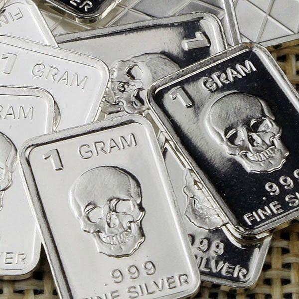 """1 gram .999 Fine silver bullion bar /""""Skull 2/"""" Design Lot of 10 /'NEW/'"""