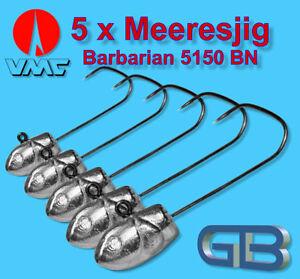 5-x-Meeresjig-Dorschbombe-42g-Jig-Bleikopf-VMC-Barbarian-5150-BN-5-0