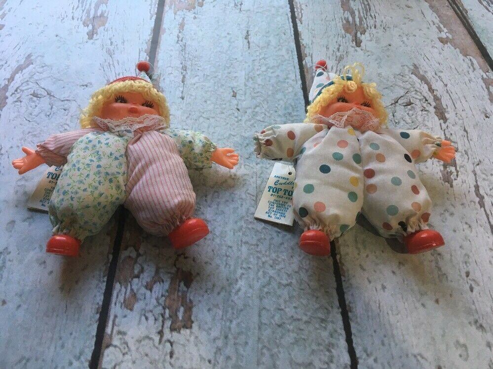 Vintage Cuddly From Top Toys Girl Clown Doll Lot Of (2)