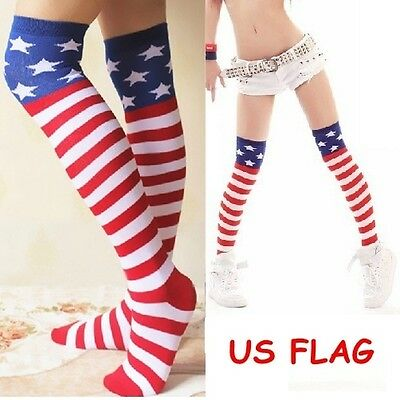 USA Flag Striped Ladies Womens Long Over Knee Thigh High Socks Stocking Leggings