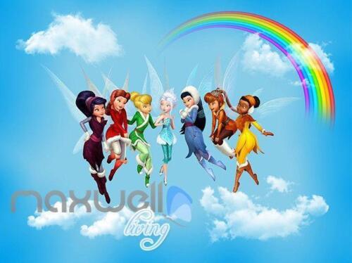 3D Tinkerbell Peter Pan Fairy Rainbow Ceiling Wall Murals Wallpaper Decals Art