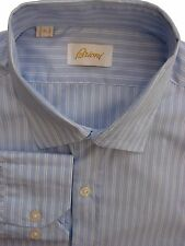 BRIONI Shirt Mens 16 M Blue - Double White Stripes