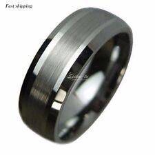 Titanium Color Two Tone Tungsten Carbide Wedding Band Men's Ring Bridal Jewelry