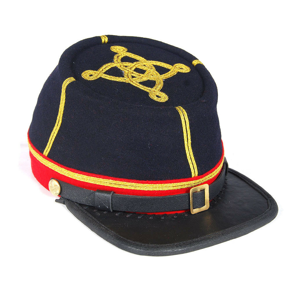 Navy with Red Band 2 row Civil War Union Artillery Captain/'s Leather Peak Kepi