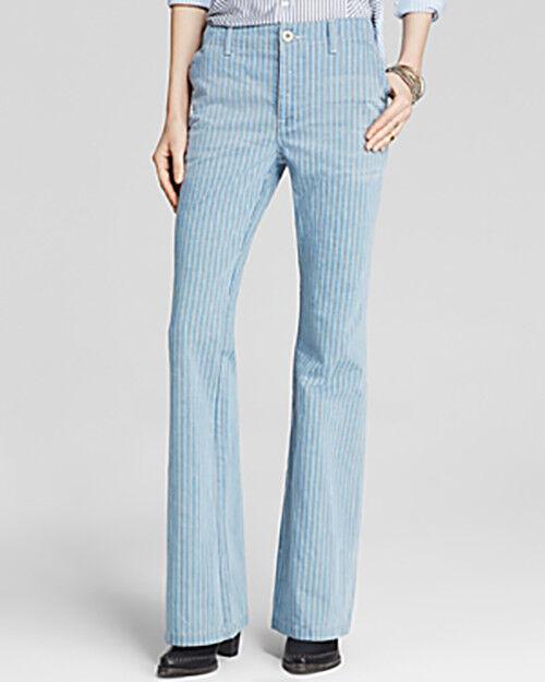 Free People Women's Railroad Stripe Flare Jeans Solar bluee 24, 25, 29