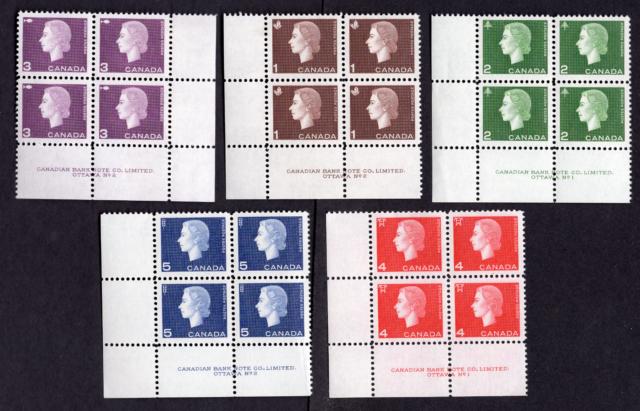Canada #401 to 405 Queen Elizabeth Cameo Portrait Issue Inscription Blocks MLH