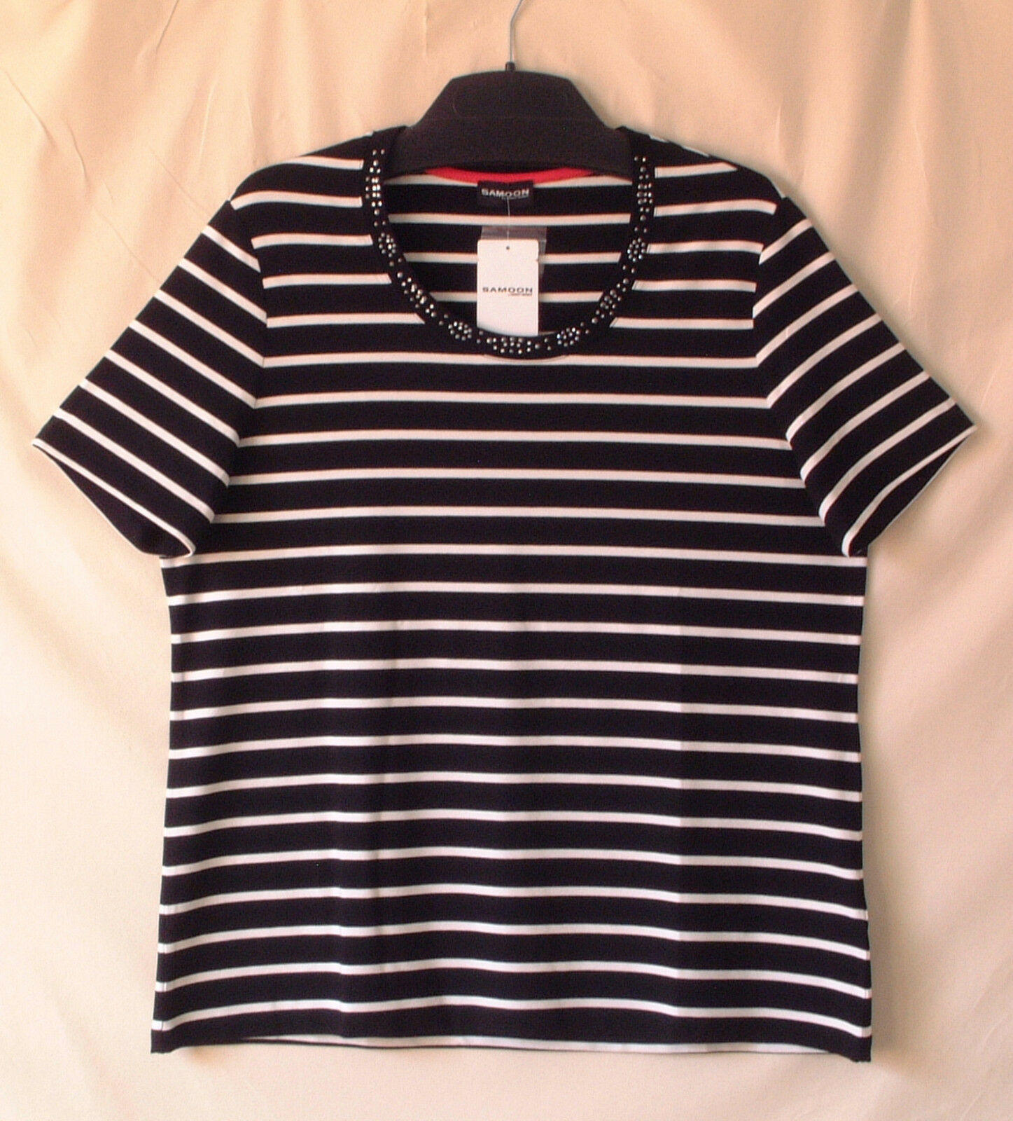 Samoon Shirt Gerry Weber gestreift Viskose Stretch Rundhals verziert Damen Gr.44