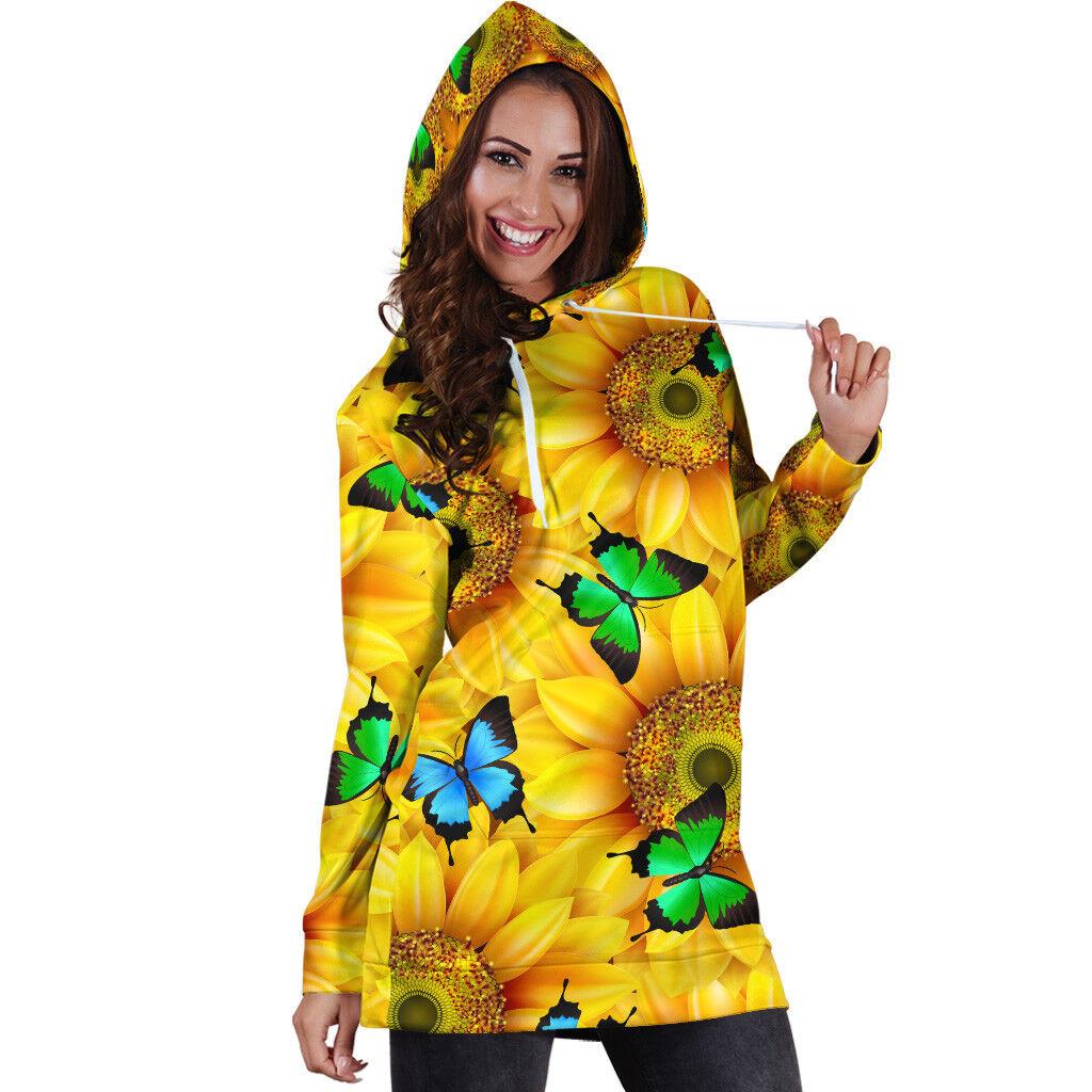 Sunflowers & Butterflies Hoodie Dress For damen, Sunflower Butterfly Gift