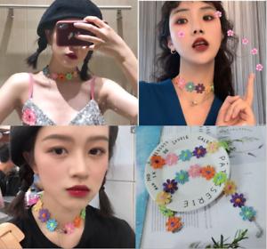 Women Colorful Flower Weaved Choker Lace Necklace Bracelet Cute Jewelry