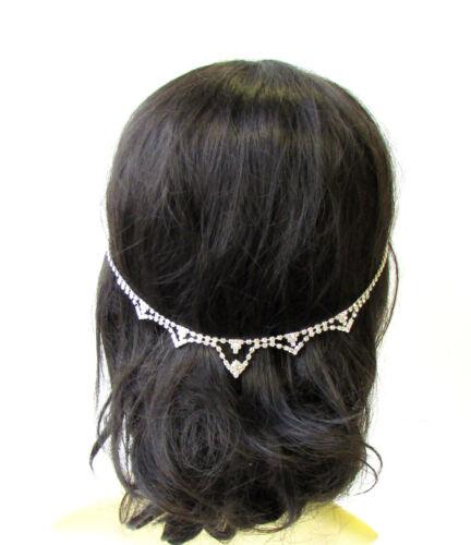 Silver Bridal Headpiece Hair Vine Headband Diamante Rhinestone Wedding Vtg 1849