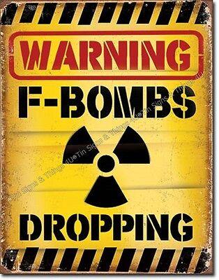 Warning F-Bombs Dropping TIN SIGN funny garage bar metal poster wall decor 2046