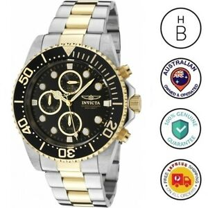 New-Invicta-Mens-Pro-Diver-Watch-18K-Gold-Plated-amp-Steel-Black-Dial-Chrono-1772