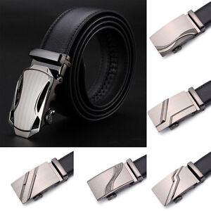 Casual-Men-Genuine-Leather-Dress-Belt-Automatic-Buckle-Waist-Strap-Waistband