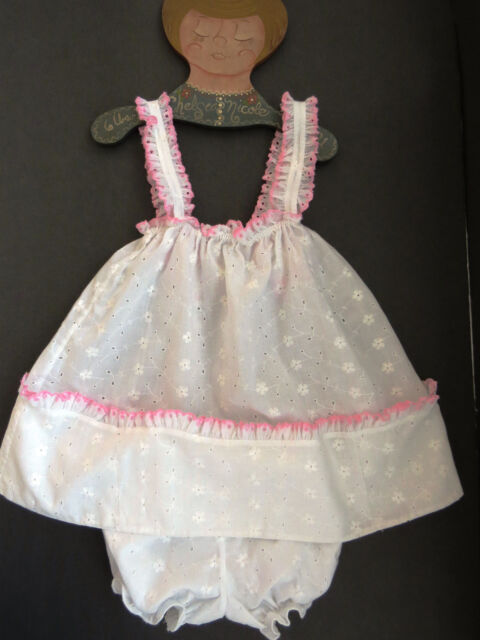 Toddler Baby Girl Sundress And Bloomers By Butterfly Size 2t White Eyelet Euc