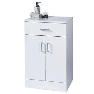 salerno gloss white wood free standing bathroom storage cabinet