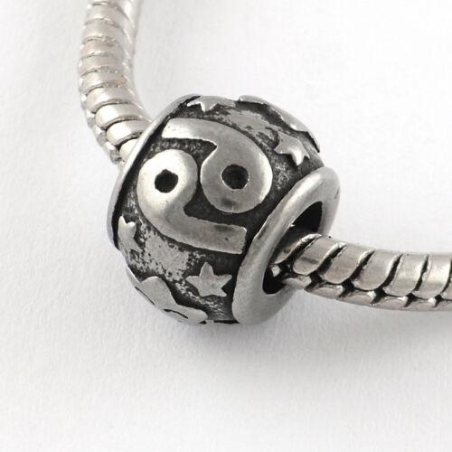 Stainless Steel Cancer Beads Astrology Horoscope Charms For European Bracelets