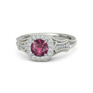 3Ct-Round-Cut-Pink-Ruby-Diamond-Vintage-Engagement-Ring-14K-White-Gold-Finish