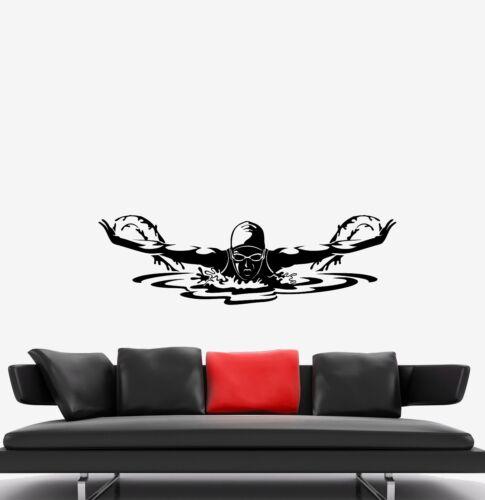 ed660 Applique murale Swimmer Athlete Sport Piscine Papillon Laiton Vinyle
