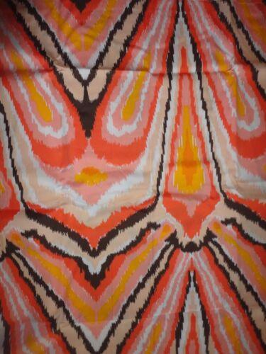 TRINA TURK PEACOCK PUNCH ORANGE BROWN CORAL IKAT FABRIC SHOWER CURTAIN 72 X 72