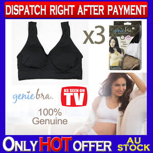 491b142b95160 Image is loading THREE-Genuine-Genie-Bra-Comfort-Support-Seamless-S-M-L-