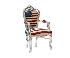 Poltrona sedia con braccioli in legno foglia argento con stoffa