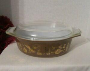 Vintage Pyrex Brown American Oval Casserole Dish 1 12 Qt