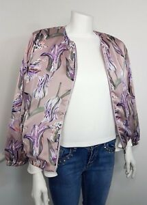 29b6f63d6 Details about BNWT UK Women's lilac floral satin bomber jacket coat UK 6 8  10 12 14 16