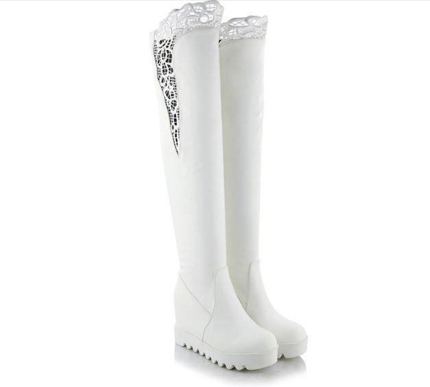 stiefel schenkel frau keilabsätze hoch 9 cm weiß komfortabel heiß simil leder