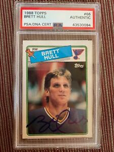 Details About 1988 Topps Brett Hull Rookie Card Psadna Authentic Autograph Slab Card Blues