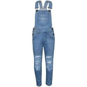 Kinder Mädchen Denim Latzhose Zerrissen Hellblau Jeans Overall Mode Overall 5-13