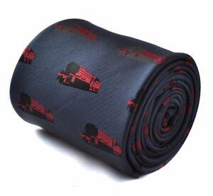 Red and Dark Navy Blue Frederick Thomas Designer Mens Tie Striped Necktie