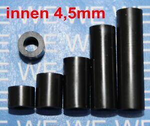 100Stück 6mm 4,5mmØ Kunststoff DISTANZHÜLSEN ABSTANDHALTER DISTANZROLLEN