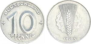 Lack Coinage 10 Pfennig 0 IN Year 1950 Double Embossed 1950 E GDR