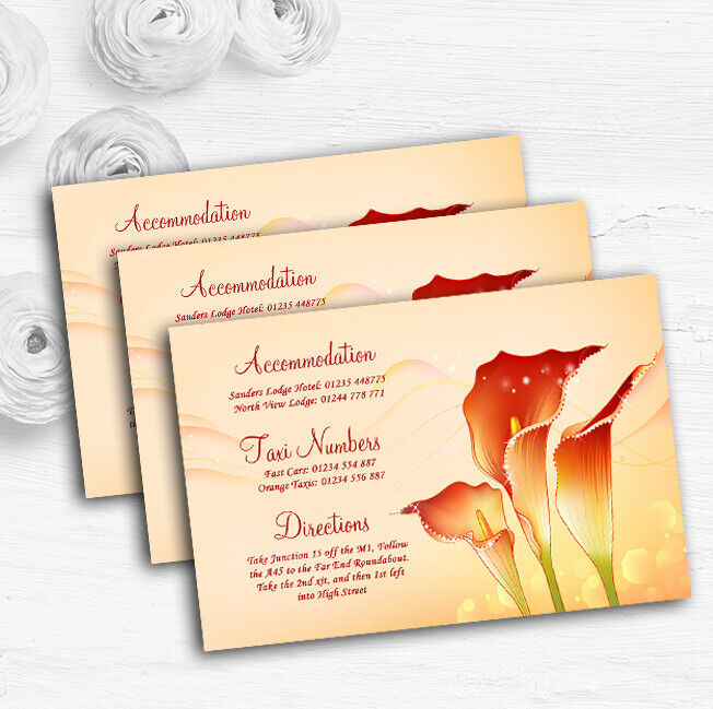 rot Orange Lily Personalised Wedding Guest Information Cards