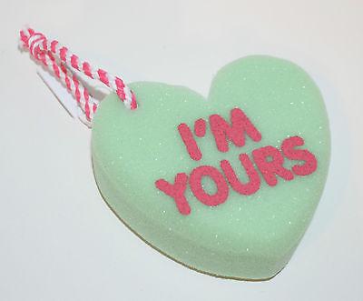 BATH /& BODY WORKS BLUE HEART YOU ROCK SHOWER SPONGE STRAP LOOFAH POUF VALENTINES